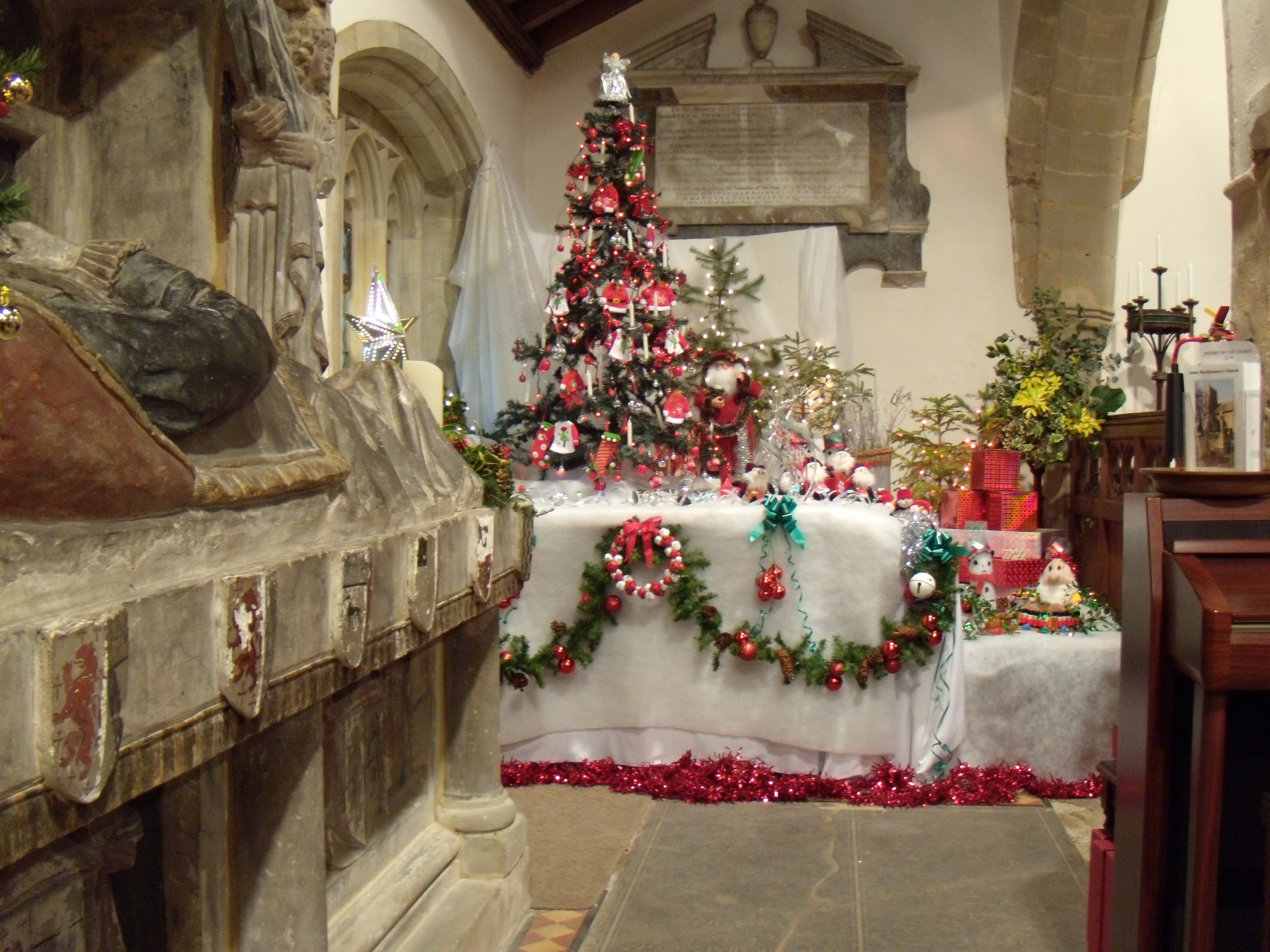 North aisle with Christmas tree by Fawnt tomb